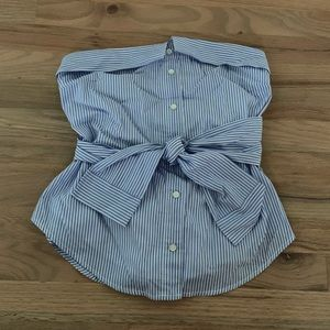 Maeve by Anthropologie button up tie strapless top